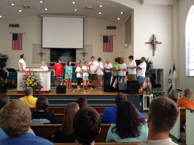 Youth testimonies at the Sunday evening service, July 26th